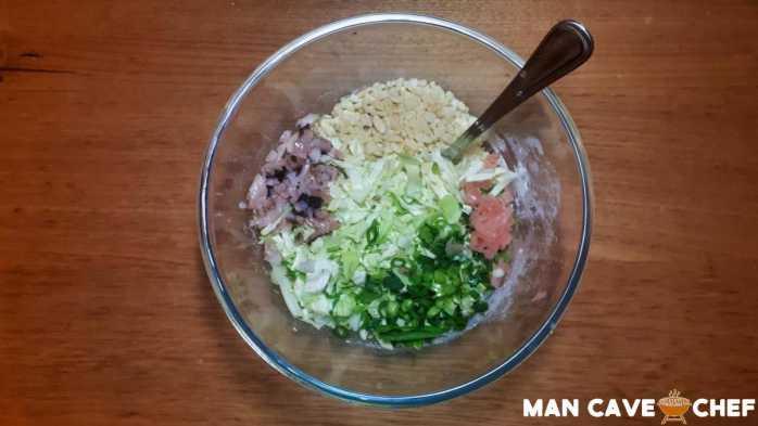Okonomiyaki ingredients in bowl