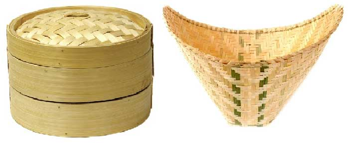 Bamboo rice steamer baskets