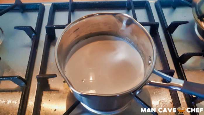 Coconut milk in pan