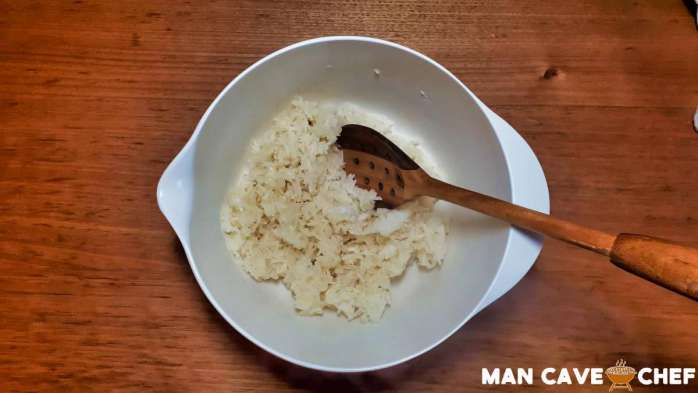 Sticky rice in mixing bowl